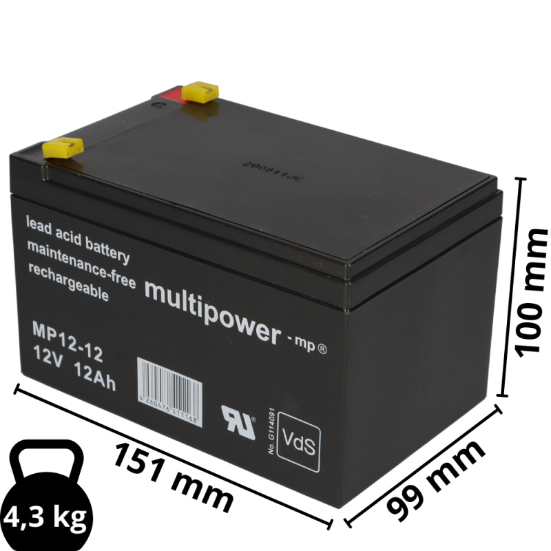 Bleigel Akku MWPower MWS 12-12 ersetzt Enduring CB-12-12 Faston 187 4,8 mm