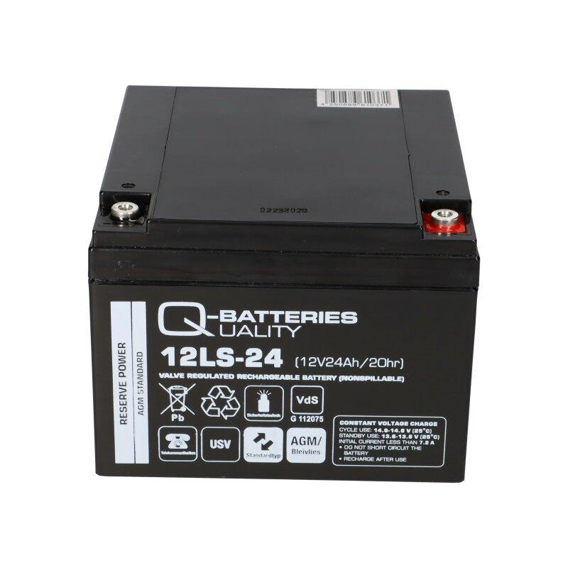 Q-Batteries 12LS-26 12V 26Ah Blei-Vlies-Akku AGM Bleiakku VdS 24Ah 27Ah 28Ah