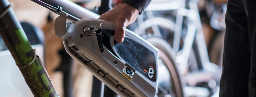 Ein E-Bike Akku am E-Bike